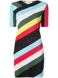 Diane von Furstenberg V-neck metallic striped dress at Farfetch