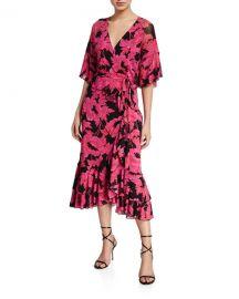 Diane von Furstenberg Zion Floral-Print Frill Wrap Dress at Neiman Marcus