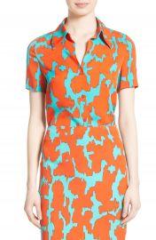 Diane von Furstenburg Print Stretch Silk Shirt at Nordstrom
