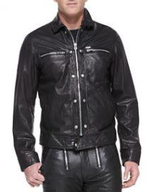 Diesel Bunmi Sheepskin Leather Moto Jacket Black at Neiman Marcus