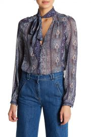 Dion Paisley Silk Necktie Blouse at Nordstrom Rack