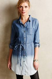 Dip-Dyed Chambray Tunic at Anthropologie