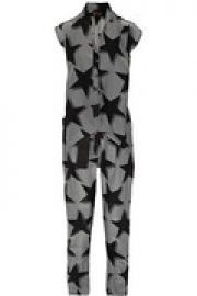 Discovery printed crepe de chine jumpsuit at The Outnet