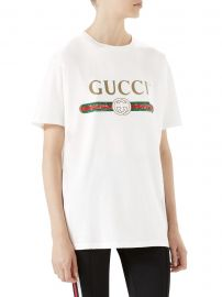 Distressed Gucci-Print Cotton Tee at Saks Fifth Avenue