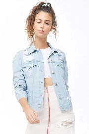 Distressed Denim Jacket by Forever 21 at Forever 21