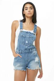 Distressed Denim Overall Shorts at Forever 21