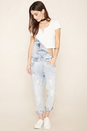 Distressed Denim Overalls at Forever 21