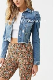 Distressed Denim Puff-Sleeve Jacket at Forever 21