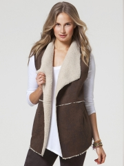 Distressed Faux Shearling Vest at C&C California