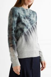 Distressed tie-dyed merino wool and cashmere-blend sweater at Net A Porter