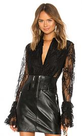 Divine Heritage Lace Tuxedo Shirt in Black from Revolve com at Revolve