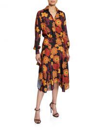 Dodo Bar Or Natasha Asymmetrical Floral-Print Shirt Dress at Neiman Marcus