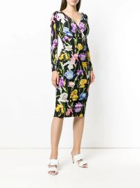 Dolce  amp  Gabbana Iris-print Charmeuse Midi Dress - Farfetch at Farfetch