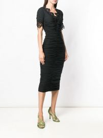 Dolce  amp  Gabbana Lace And Ruched Sheer Dress - Farfetch at Farfetch