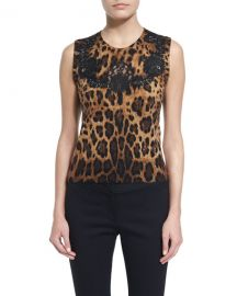 Dolce  amp  Gabbana Lace-Inset Animal-Print Shell at Neiman Marcus