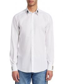 Dolce   Gabbana - Embroidered Collar Cotton Button-Down Shirt at Saks Fifth Avenue