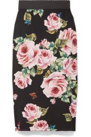 Dolce   Gabbana   Floral-print stretch-silk charmeuse midi skirt at Net A Porter