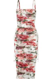 Dolce   Gabbana - Lace-up ruched floral-print cotton and silk-blend tulle midi dress at Net A Porter
