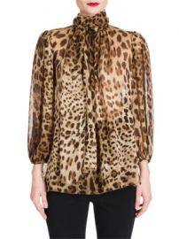 Dolce   Gabbana - Leopard Print Chiffon Tie-Neck Blouse at Saks Fifth Avenue