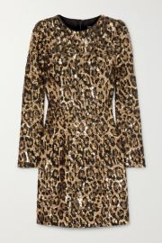 Dolce   Gabbana - Leopard-print sequinned crepe mini dress at Net A Porter