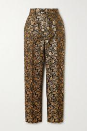 Dolce   Gabbana - Metallic floral-jacquard straight-leg pants at Net A Porter