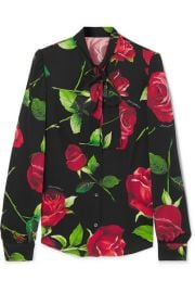 Dolce   Gabbana - Pussy-bow floral-print silk-blend blouse at Net A Porter