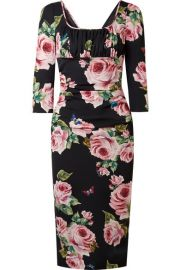 Dolce   Gabbana   Ruched floral-print stretch-silk charmeuse midi dress at Net A Porter