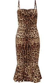 Dolce   Gabbana - Ruched leopard-print silk-cady midi dress at Net A Porter
