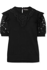 Dolce   Gabbana   Ruffled georgette-trimmed lace and wool-blend top at Net A Porter