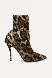 Dolce   Gabbana - Sequined stretch-knit sock boots at Net A Porter