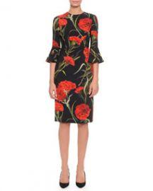 Dolce   Gabbana Bell-Sleeve Carnation-Print Dress  Black Red at Neiman Marcus