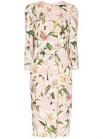 Dolce   Gabbana Cady lily-print Midi Dress - Farfetch at Farfetch