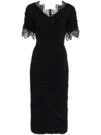 Dolce   Gabbana Lace Trimmed Ruched Silk Blend Georgette Dress - Farfetch at Farfetch