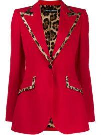 Dolce   Gabbana Leopard Print Trim Blazer Jacket - Farfetch at Farfetch