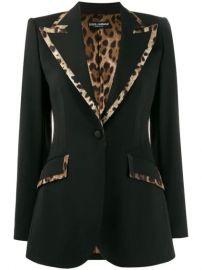 Dolce   Gabbana Leopard Print Trim Fitted Blazer - Farfetch at Farfetch
