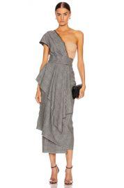 Dolce   Gabbana One Shoulder Bustier Asymmetrical Midi Dress in Grey   FWRD at Forward