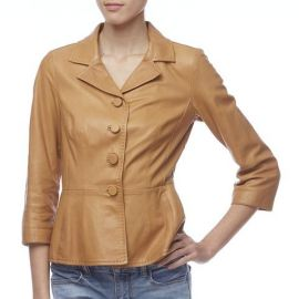 Dolce & Gabbana Light Brown Leather Peplum Jacket at SuiteAdore