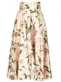 Dolce & Gabbana Lily-print shantung-silk midi skirt at Matches