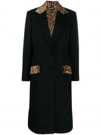 Dolce & Gabbana Tailored leopard print panel coat at Farfetch