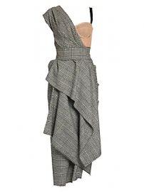 Dolce  amp  Gabbana - Asymmetric One-Shoulder Plaid Midi Dress at Saks Fifth Avenue