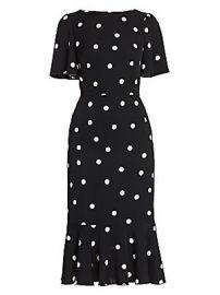 Dolce  amp  Gabbana - Charmeuse Flutter-Hem Polka Dot Sheath Dress at Saks Fifth Avenue