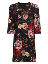 Dolce  amp  Gabbana - Crepe Rose Print Shift Dress at Saks Fifth Avenue