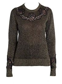 Dolce  amp  Gabbana - Lace Insert Lurex Sweater at Saks Fifth Avenue