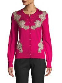 Dolce  amp  Gabbana - Lace-Insert Silk-Knit Cardigan at Saks Off 5th