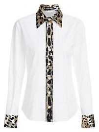 Dolce  amp  Gabbana - Leopard Print Trimmed Button-Front Shirt at Saks Fifth Avenue
