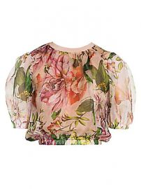 Dolce  amp  Gabbana - Silk Organza Voluminous Crop Top at Saks Fifth Avenue