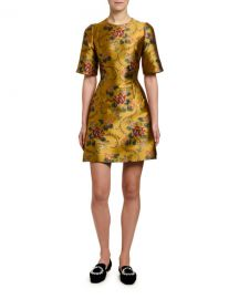 Dolce  amp  Gabbana 1 2-Sleeve Floral-Jacquard Cocktail Dress at Neiman Marcus