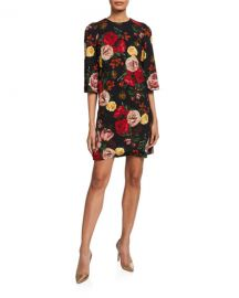 Dolce  amp  Gabbana 3 4-Sleeve Baroque Roses Shift Dress at Neiman Marcus