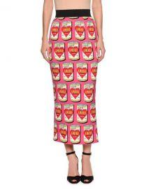 Dolce  amp  Gabbana Amore Energy Drink Print Midi Pencil Skirt   Neiman at Neiman Marcus