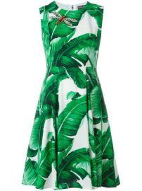 Dolce  amp  Gabbana Banana Leaf Print Dress at Farfetch